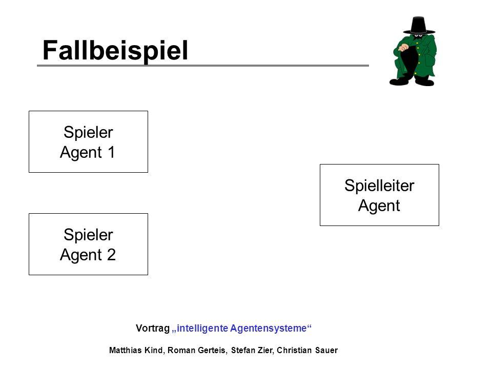Vortrag intelligente Agentensysteme Matthias Kind, Roman Gerteis, Stefan Zier, Christian Sauer Fallbeispiel Spieler Agent 1 Spieler Agent 2 Spielleite