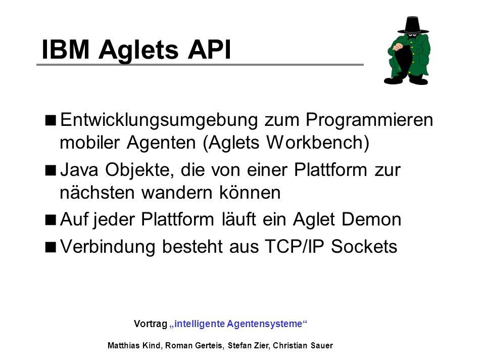 Vortrag intelligente Agentensysteme Matthias Kind, Roman Gerteis, Stefan Zier, Christian Sauer IBM Aglets API Entwicklungsumgebung zum Programmieren m