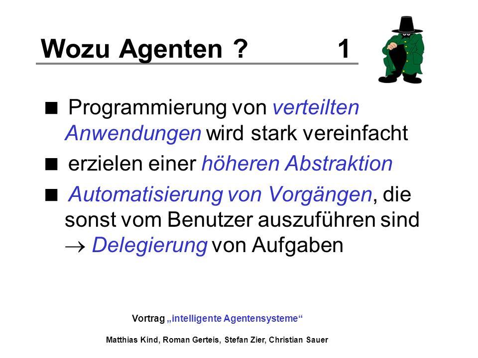 Vortrag intelligente Agentensysteme Matthias Kind, Roman Gerteis, Stefan Zier, Christian Sauer Fallbeispiel Spieler Agent 1 Spieler Agent 2 Spielleiter Agent Zug (Stein)