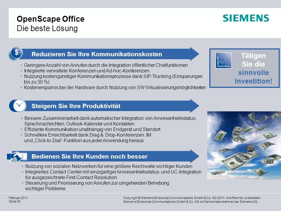 Copyright © Siemens Enterprise Communications GmbH & Co. KG 2011. Alle Rechte vorbehalten. Siemens Enterprise Communications GmbH & Co. KG ist Markenl