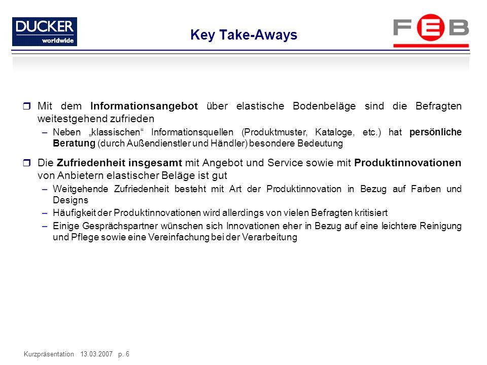 Kurzpräsentation 13.03.2007 p. 6 Mit dem Informationsangebot über elastische Bodenbeläge sind die Befragten weitestgehend zufrieden –Neben klassischen