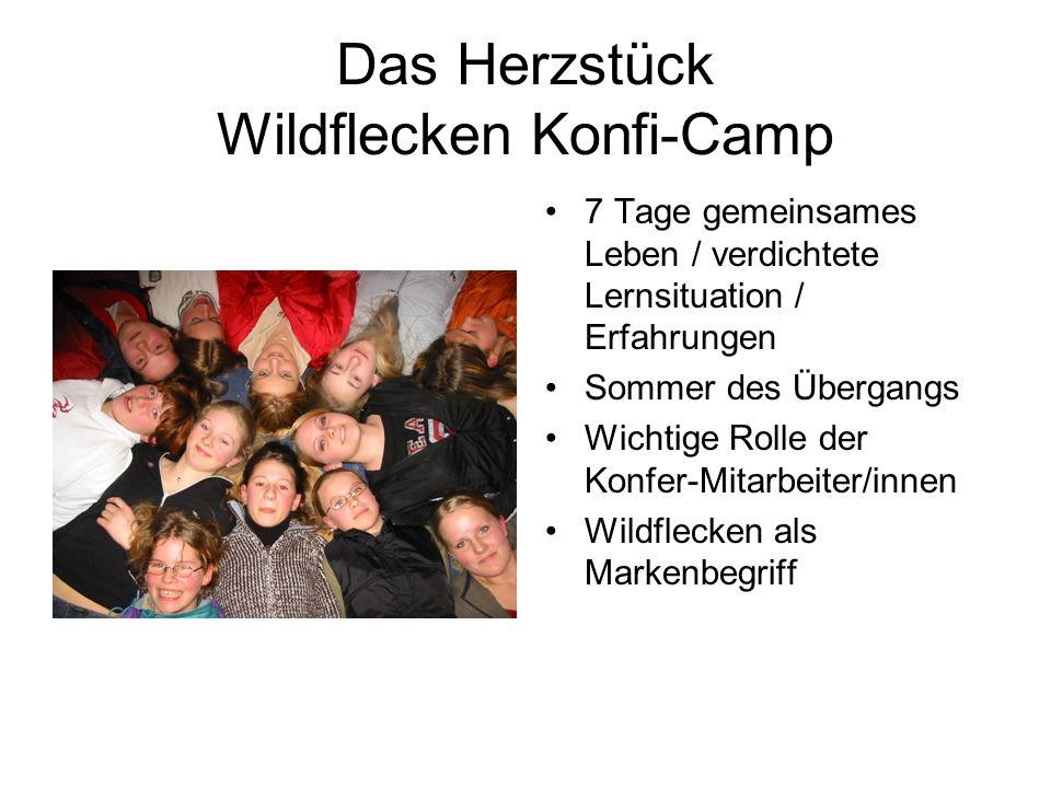 Das Herzstück Wildflecken Konfi-Camp 7 Tage gemeinsames Leben / verdichtete Lernsituation / Erfahrungen Sommer des Übergangs Wichtige Rolle der Konfer