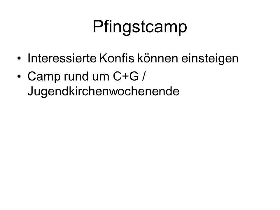 Pfingstcamp Interessierte Konfis können einsteigen Camp rund um C+G / Jugendkirchenwochenende