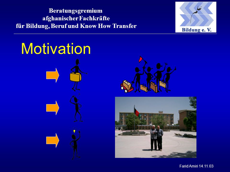 Beratungsgremium afghanischer Fachkräfte für Bildung, Beruf und Know How Transfer Farid Amiri 14.11.03 Motivation