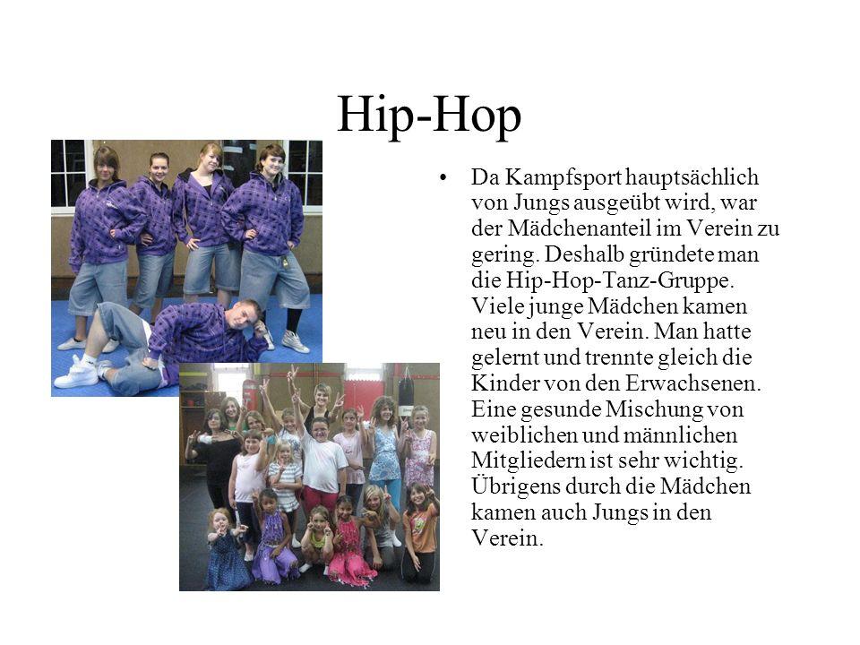 Hip-Hop Da Kampfsport hauptsächlich von Jungs ausgeübt wird, war der Mädchenanteil im Verein zu gering.