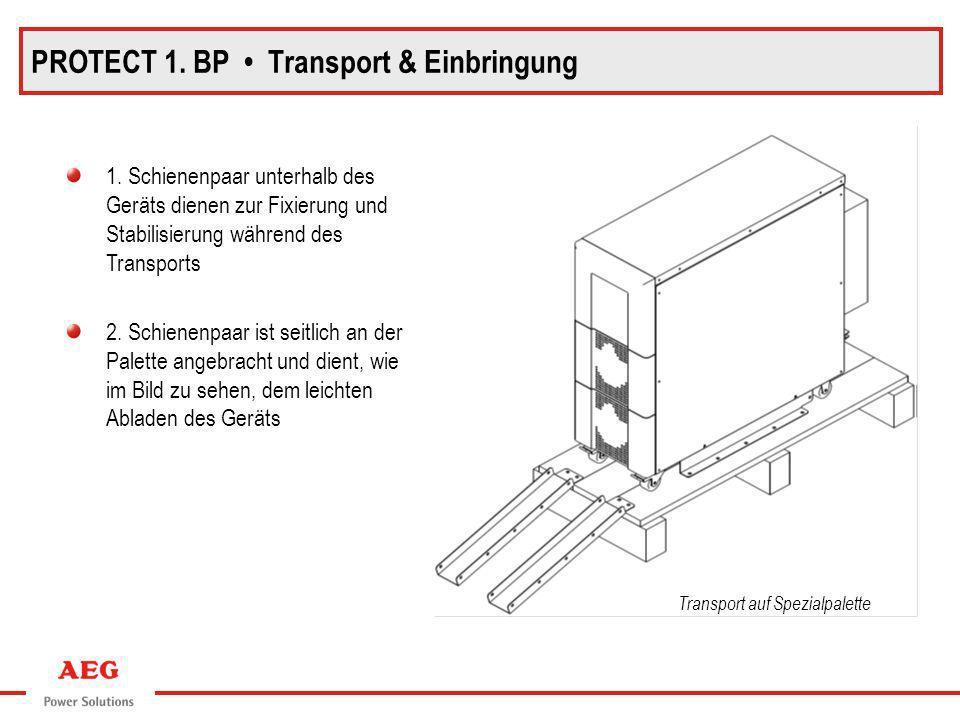 Transport auf Spezialpalette PROTECT 1. BP Transport & Einbringung 1. Schienenpaar unterhalb des Geräts dienen zur Fixierung und Stabilisierung währen