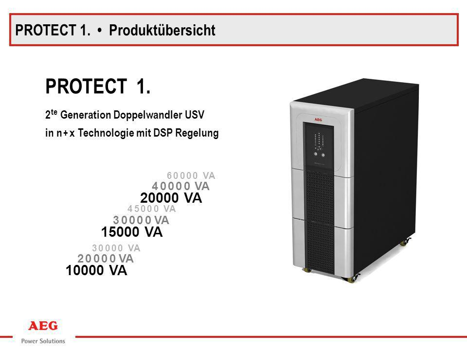PROTECT 1. Produktübersicht PROTECT 1. 2 te Generation Doppelwandler USV in n + x Technologie mit DSP Regelung 20000 VA 15000 VA 10000 VA 4 0 0 0 0 VA