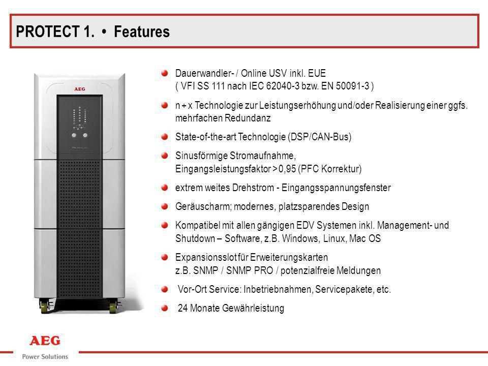 Dauerwandler- / Online USV inkl. EUE ( VFI SS 111 nach IEC 62040-3 bzw. EN 50091-3 ) n + x Technologie zur Leistungserhöhung und/oder Realisierung ein