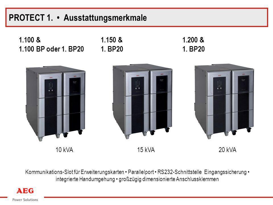 PROTECT 1. Ausstattungsmerkmale 1.100 & 1.100 BP oder 1. BP20 1.150 & 1. BP20 1.200 & 1. BP20 Kommunikations-Slot für Erweiterungskarten Parallelport