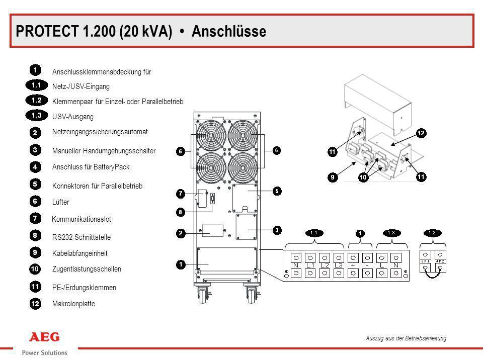 PROTECT 1.200 (20 kVA) Anschlüsse Anschlussklemmenabdeckung für Netz-/USV-Eingang Klemmenpaar für Einzel- oder Parallelbetrieb USV-Ausgang Netzeingang