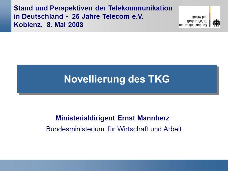 1 Stand und Perspektiven der Telekommunikation in Deutschland - 25 Jahre Telecom e.V. Koblenz, 8. Mai 2003 Novellierung des TKG Ministerialdirigent Er