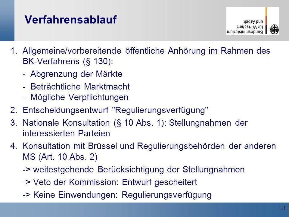 11 Verfahrensablauf 1. Allgemeine/vorbereitende öffentliche Anhörung im Rahmen des BK-Verfahrens (§ 130): - Abgrenzung der Märkte - Beträchtliche Mark