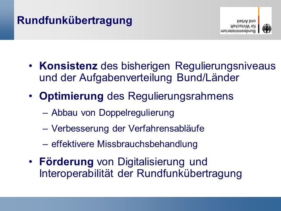 28 Rundfunkübertragung Konsistenz des bisherigen Regulierungsniveaus und der Aufgabenverteilung Bund/Länder Optimierung des Regulierungsrahmens –Abbau