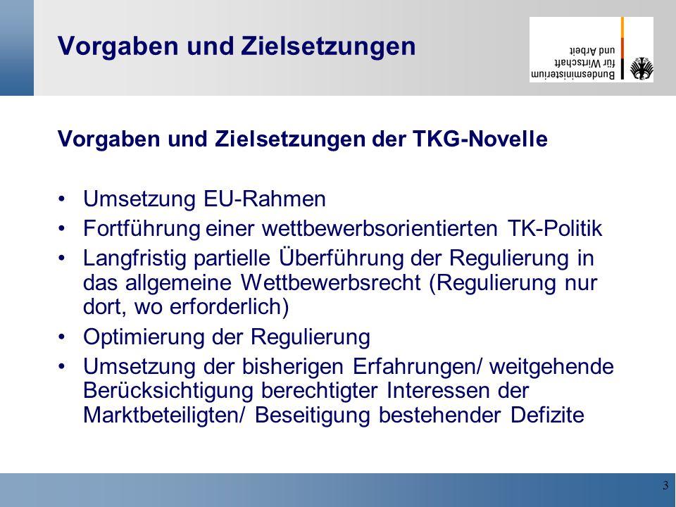 3 Vorgaben und Zielsetzungen Vorgaben und Zielsetzungen der TKG-Novelle Umsetzung EU-Rahmen Fortführung einer wettbewerbsorientierten TK-Politik Langf