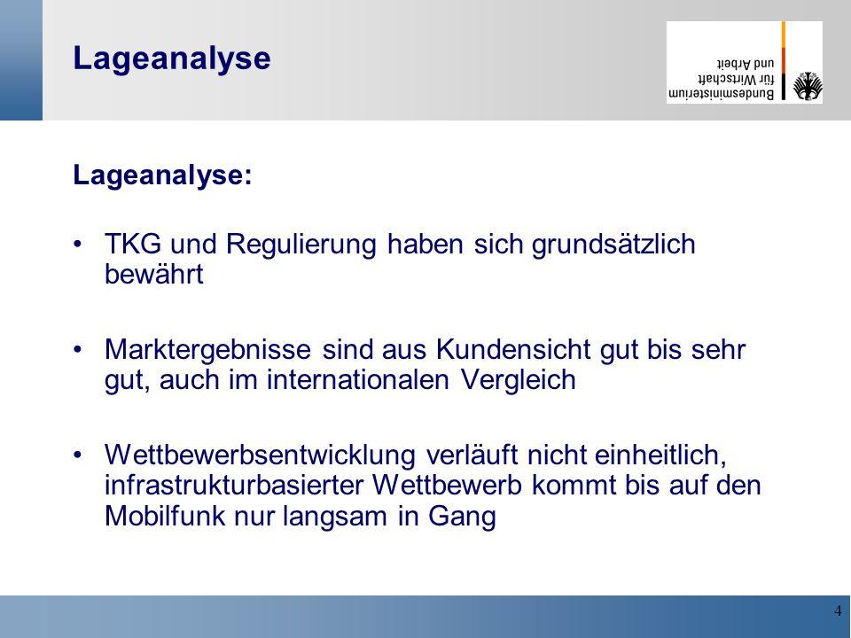 5 Positionen der Bundesregierung 12/2002 Stellungnahme zum Sondergutachten der MonopolKOM Fortführung der wettbewerbsorientierten TK-Politik Balance von Dienste- und Infrastrukturwettbewerb Weiterführung der Ex-ante-Reg.