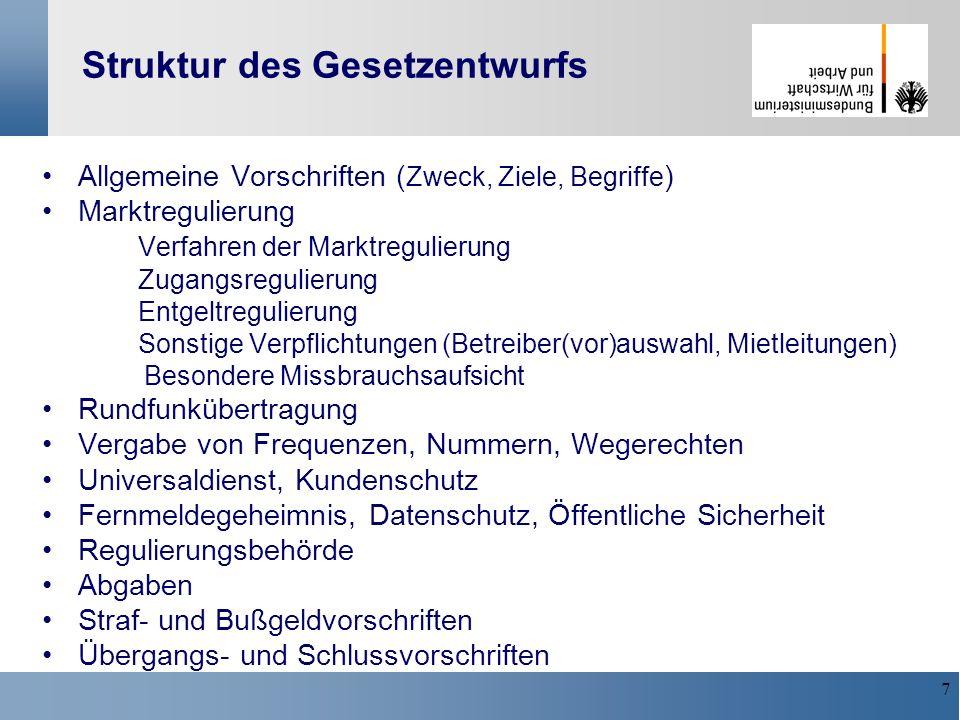 7 Struktur des Gesetzentwurfs Allgemeine Vorschriften ( Zweck, Ziele, Begriffe ) Marktregulierung Verfahren der Marktregulierung Zugangsregulierung En