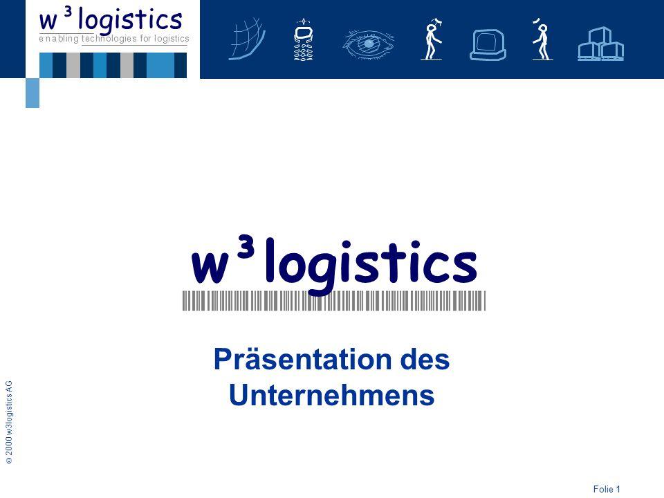 Folie 1 2000 w3logistics AG e n a b l i n g t e c h n o l o g i e s f o r l o g i s t i c s w³logistics Präsentation des Unternehmens