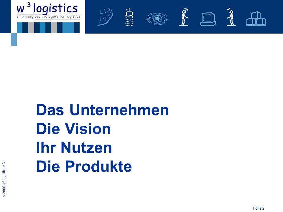 Folie 3 2000 w3logistics AG e n a b l i n g t e c h n o l o g i e s f o r l o g i s t i c s w³logistics w3logistics ist führender Anbieter von Dienstleistung für die Logistik auf der Basis von Mobile Computing und Internet.