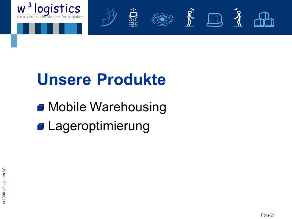 Folie 22 2000 w3logistics AG e n a b l i n g t e c h n o l o g i e s f o r l o g i s t i c s w³logistics Unsere Produkte Mobile Warehousing Lageroptimierung Track-Service