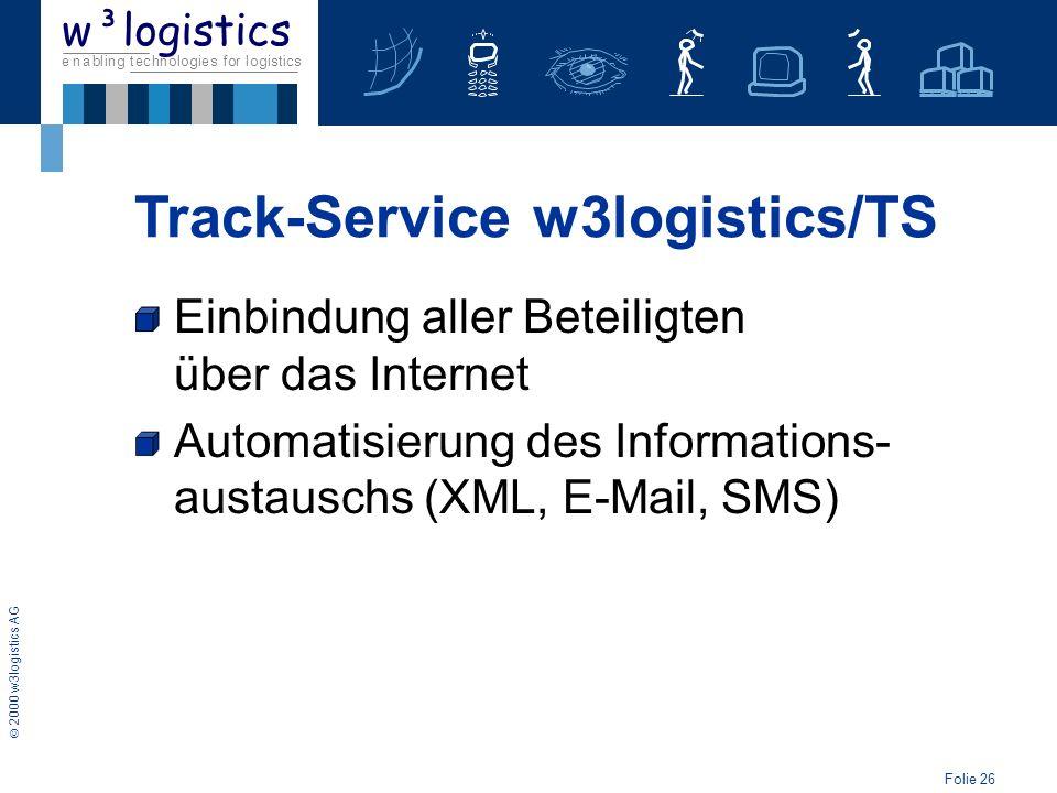 Folie 27 2000 w3logistics AG e n a b l i n g t e c h n o l o g i e s f o r l o g i s t i c s w³logistics WAP-Technologie als mobile Komponente Einbindung aller Beteiligten über das Internet Automatisierung des Informations- austauschs (XML, E-Mail, SMS) Track-Service w3logistics/TS