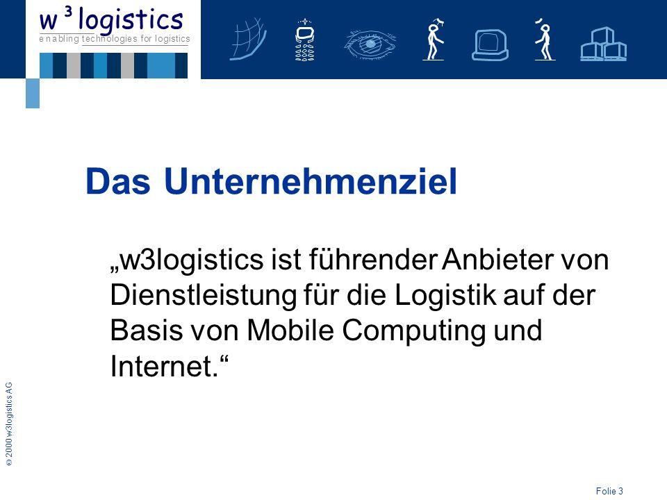 Folie 4 2000 w3logistics AG e n a b l i n g t e c h n o l o g i e s f o r l o g i s t i c s w³logistics gegründet im Mai 2000 als AG Das Unternehmen