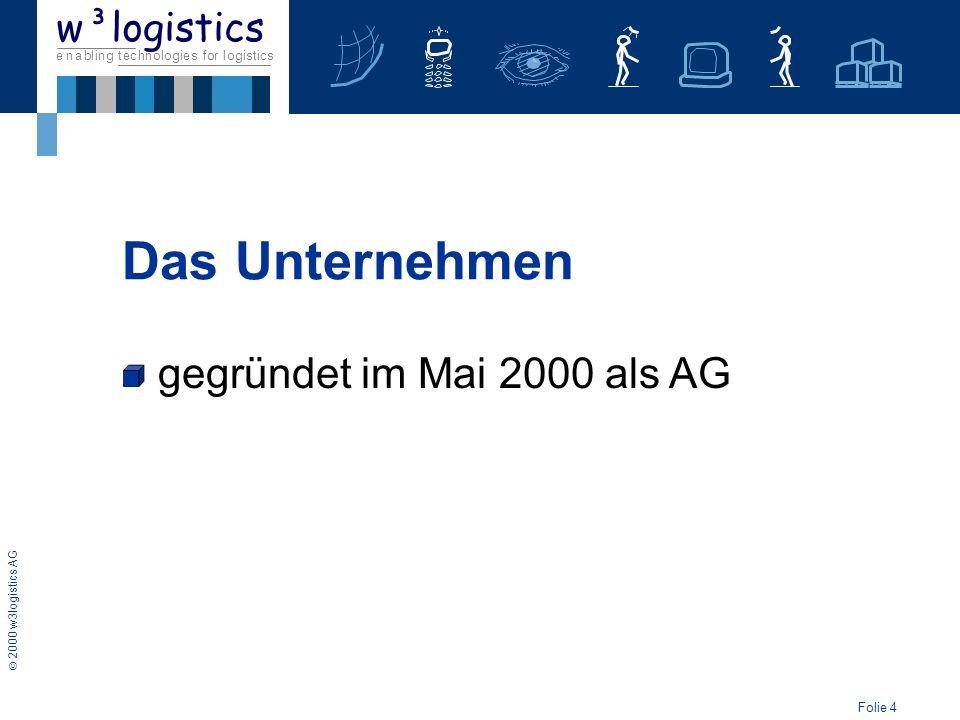 Folie 5 2000 w3logistics AG e n a b l i n g t e c h n o l o g i e s f o r l o g i s t i c s w³logistics gegründet im Mai 2000 als AG Vorstellung auf BVL-Kongress 2000 Das Unternehmen