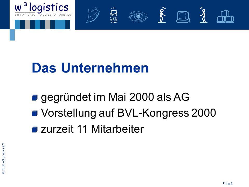 Folie 6 2000 w3logistics AG e n a b l i n g t e c h n o l o g i e s f o r l o g i s t i c s w³logistics gegründet im Mai 2000 als AG Vorstellung auf B