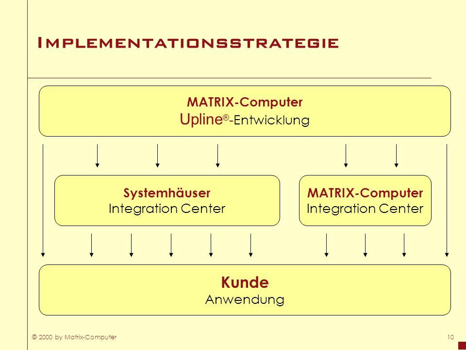© 2000 by Matrix-Computer10 Implementationsstrategie MATRIX-Computer Upline ® - Entwicklung Systemhäuser Integration Center Kunde Anwendung MATRIX-Com