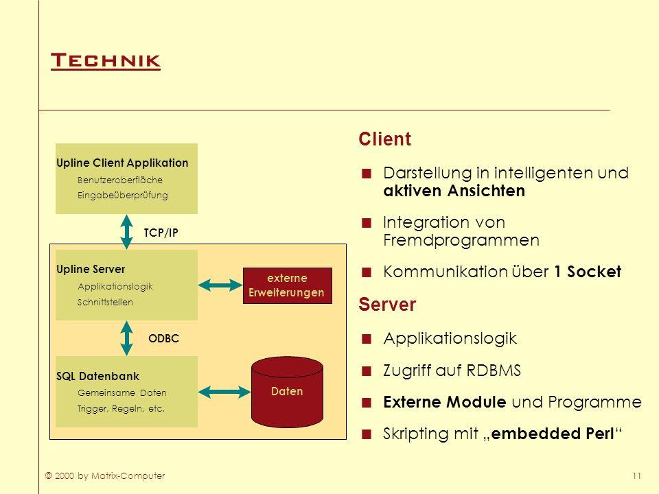 © 2000 by Matrix-Computer11 Technik Client Darstellung in intelligenten und aktiven Ansichten Integration von Fremdprogrammen Kommunikation über 1 Soc