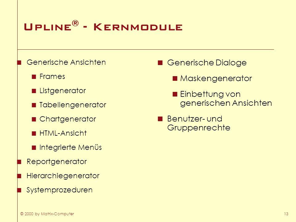 © 2000 by Matrix-Computer13 Upline ® - Kernmodule Generische Ansichten Frames Listgenerator Tabellengenerator Chartgenerator HTML-Ansicht Integrierte