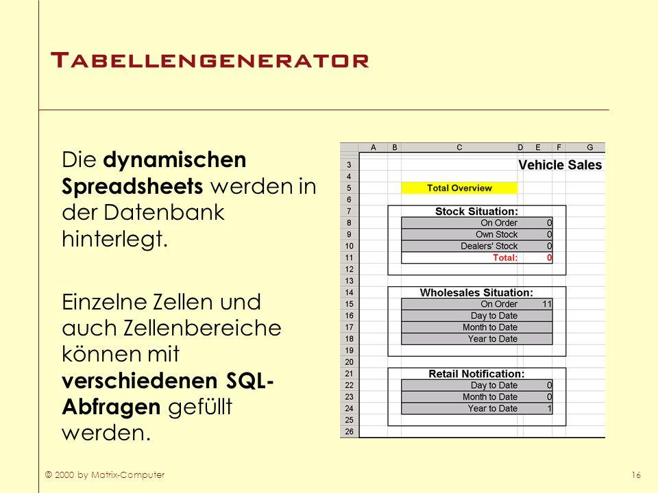 © 2000 by Matrix-Computer16 Tabellengenerator Die dynamischen Spreadsheets werden in der Datenbank hinterlegt. Einzelne Zellen und auch Zellenbereiche