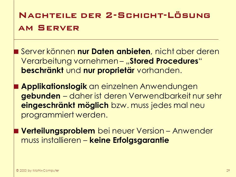 © 2000 by Matrix-Computer29 Nachteile der 2-Schicht-Lösung am Server Server können nur Daten anbieten, nicht aber deren Verarbeitung vornehmen – Store