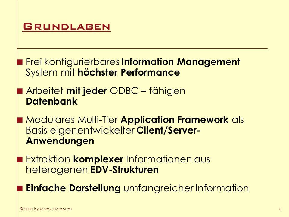 © 2000 by Matrix-Computer3 Grundlagen Frei konfigurierbares Information Management System mit höchster Performance Arbeitet mit jeder ODBC – fähigen D