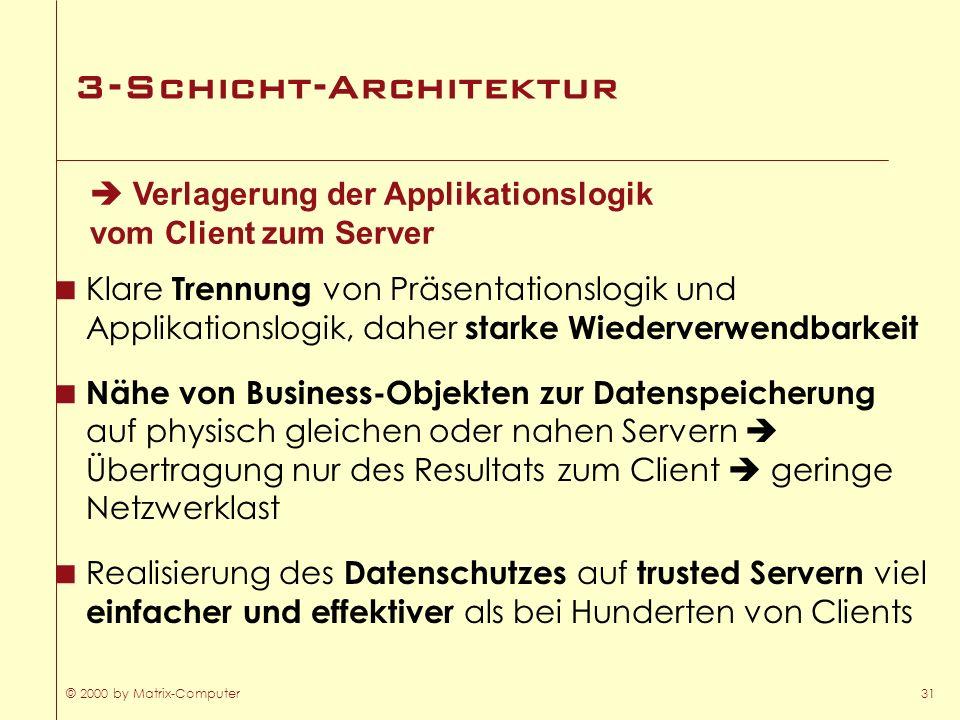 © 2000 by Matrix-Computer31 3-Schicht-Architektur Klare Trennung von Präsentationslogik und Applikationslogik, daher starke Wiederverwendbarkeit Nähe