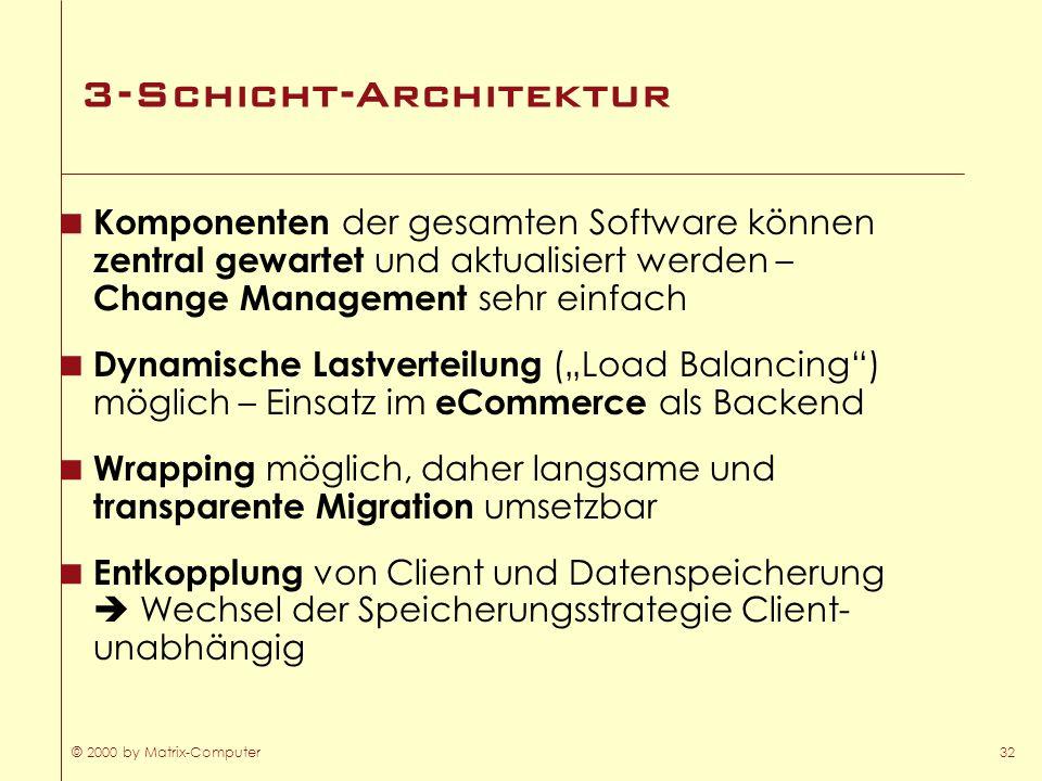 © 2000 by Matrix-Computer32 3-Schicht-Architektur Komponenten der gesamten Software können zentral gewartet und aktualisiert werden – Change Managemen