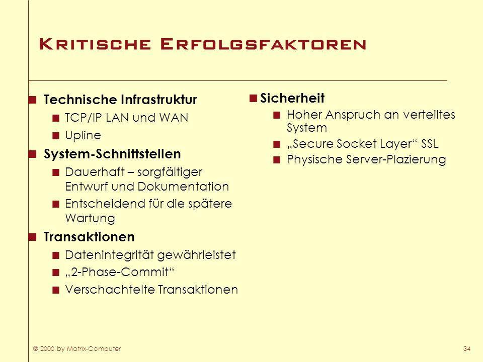© 2000 by Matrix-Computer34 Kritische Erfolgsfaktoren Technische Infrastruktur TCP/IP LAN und WAN Upline System-Schnittstellen Dauerhaft – sorgfältige