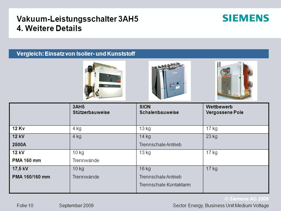 Sector Energy, Business Unit Medium Voltage © Siemens AG 2009 September 2009Folie 10 3AH5 Stützerbauweise SION Schalenbauweise Wettbewerb Vergossene P