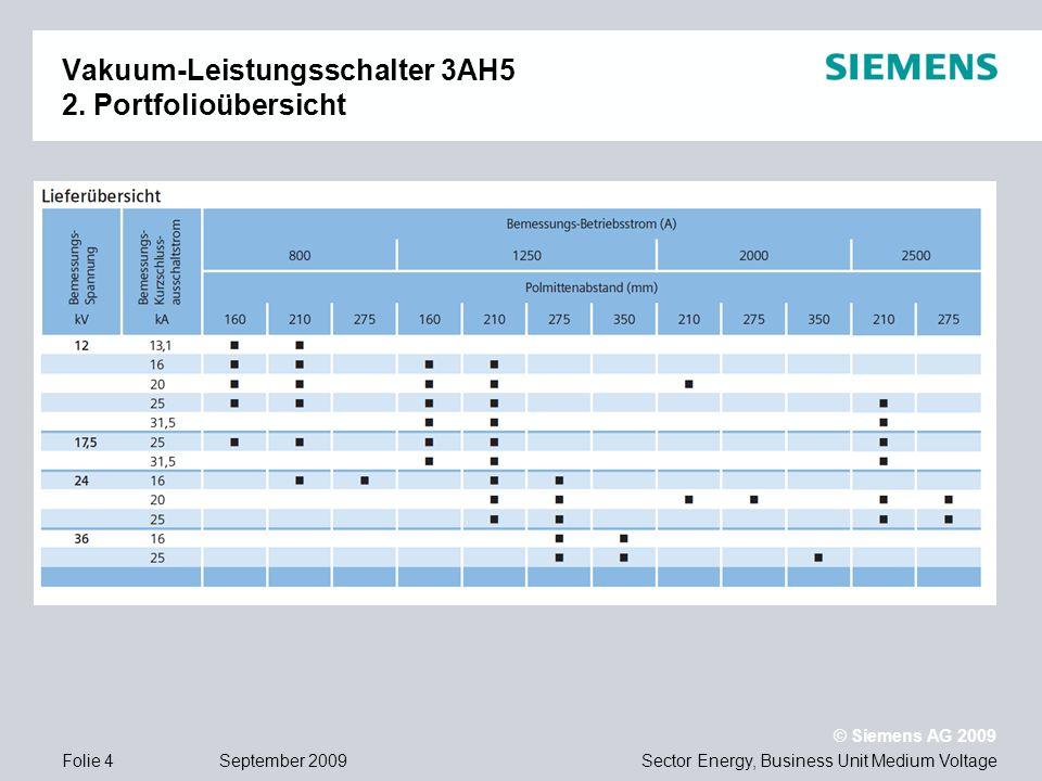 Sector Energy, Business Unit Medium Voltage © Siemens AG 2009 September 2009Folie 4 Vakuum-Leistungsschalter 3AH5 2. Portfolioübersicht