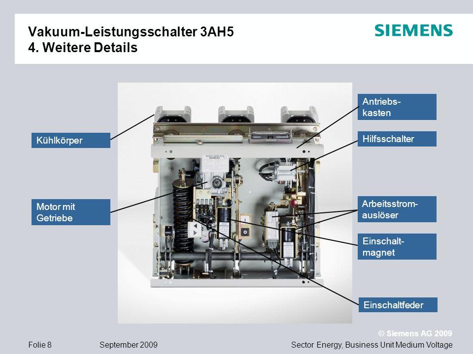 Sector Energy, Business Unit Medium Voltage © Siemens AG 2009 September 2009Folie 8 Vakuum-Leistungsschalter 3AH5 4. Weitere Details Hilfsschalter Mot