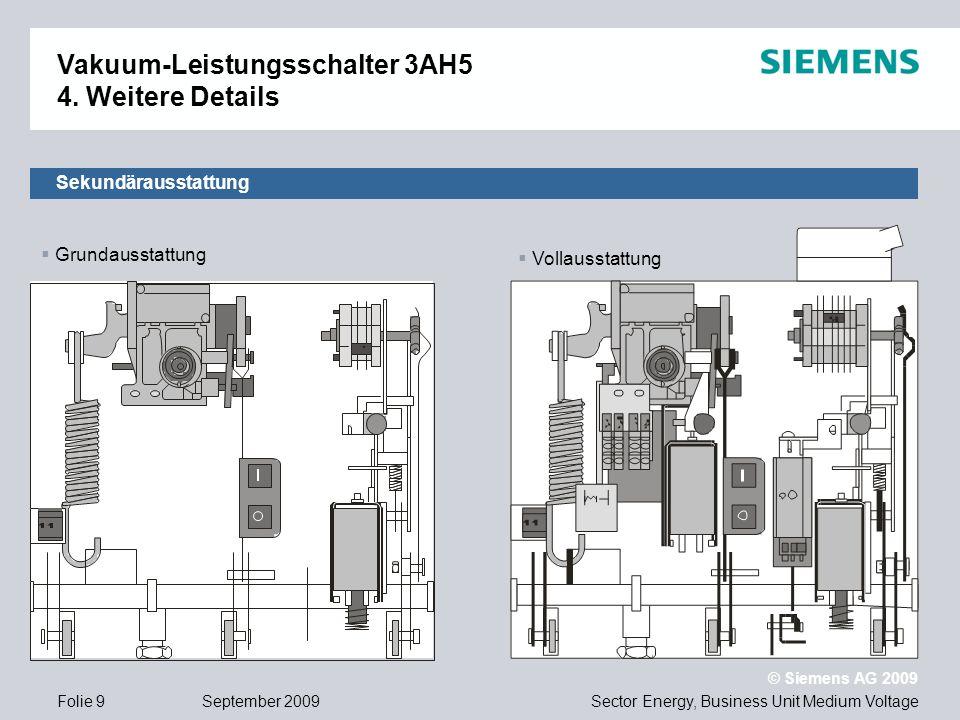 Sector Energy, Business Unit Medium Voltage © Siemens AG 2009 September 2009Folie 9 Sekundärausstattung Vakuum-Leistungsschalter 3AH5 4. Weitere Detai