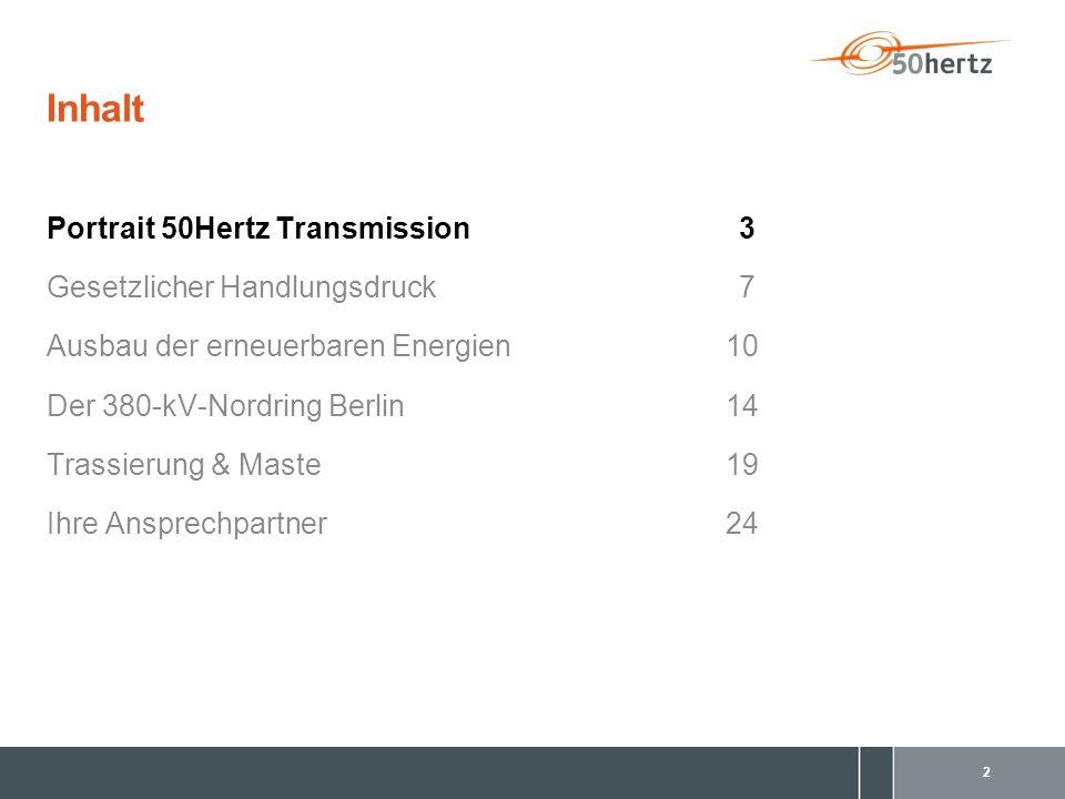 2 Inhalt Portrait 50Hertz Transmission3 Gesetzlicher Handlungsdruck7 Ausbau der erneuerbaren Energien10 Der 380-kV-Nordring Berlin14 Trassierung & Maste19 Ihre Ansprechpartner24