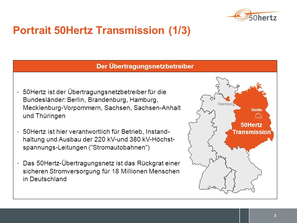 3 Portrait 50Hertz Transmission (1/3) Hamburg 50Hertz Transmission Berlin Der Übertragungsnetzbetreiber -50Hertz ist der Übertragungsnetzbetreiber für die Bundesländer: Berlin, Brandenburg, Hamburg, Mecklenburg-Vorpommern, Sachsen, Sachsen-Anhalt und Thüringen -50Hertz ist hier verantwortlich für Betrieb, Instand- haltung und Ausbau der 220 kV-und 380 kV-Höchst- spannungs-Leitungen ( Stromautobahnen ) -Das 50Hertz-Übertragungsnetz ist das Rückgrat einer sicheren Stromversorgung für 18 Millionen Menschen in Deutschland