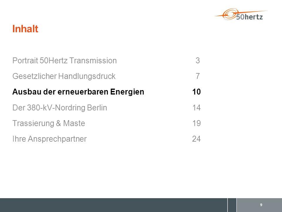 10 Ausbau der erneuerbaren Energien (1/3) Installierte Windkraftleistung in Deutschland – Ende 2009 © Fraunhofer IWES; 31.12.2009 Summe Deutschland: 25.346 MW davon Regelzone 50Hertz: 10.571 MW (~ 42 %)