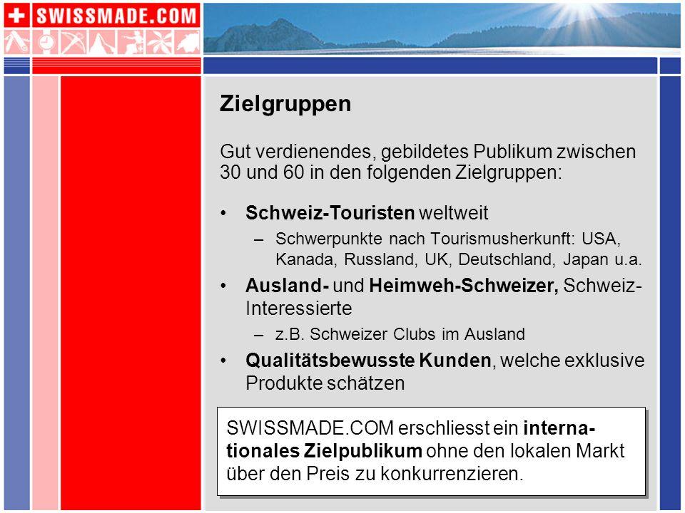 Zielgruppen Schweiz-Touristen weltweit –Schwerpunkte nach Tourismusherkunft: USA, Kanada, Russland, UK, Deutschland, Japan u.a. Ausland- und Heimweh-S