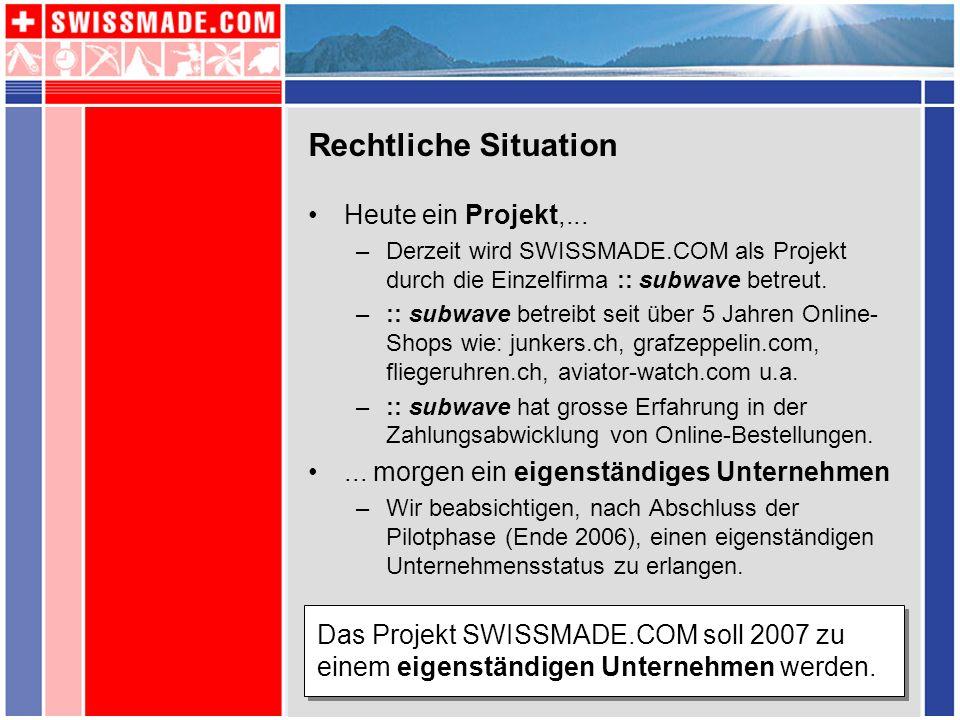 Rechtliche Situation Heute ein Projekt,... –Derzeit wird SWISSMADE.COM als Projekt durch die Einzelfirma :: subwave betreut. –:: subwave betreibt seit