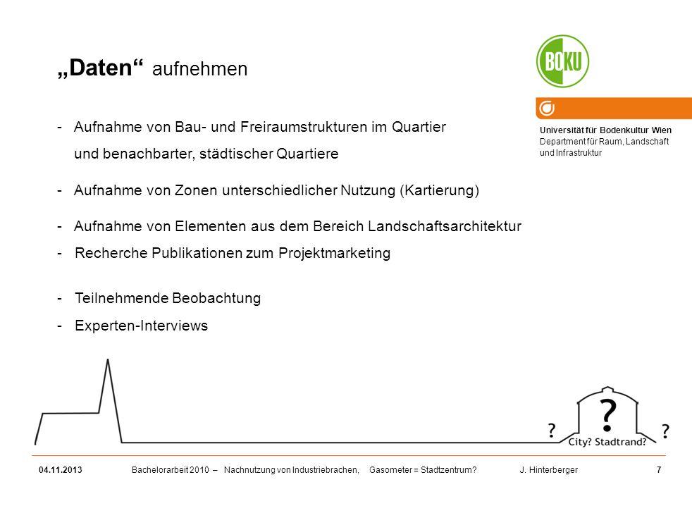 Universität für Bodenkultur Wien Department für Raum, Landschaft und Infrastruktur Bachelorarbeit 2010 – Nachnutzung von Industriebrachen, Gasometer =