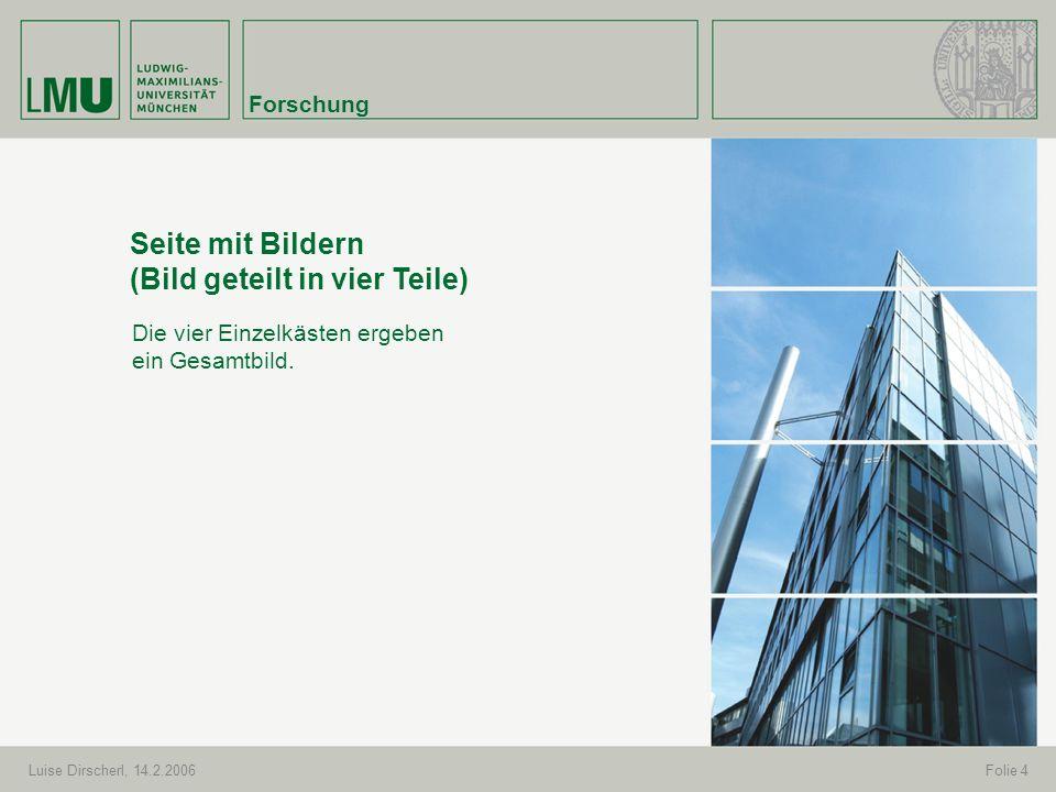 Forschung Luise Dirscherl, 14.2.2006Folie 4 Seite mit Bildern (Bild geteilt in vier Teile) Die vier Einzelkästen ergeben ein Gesamtbild.