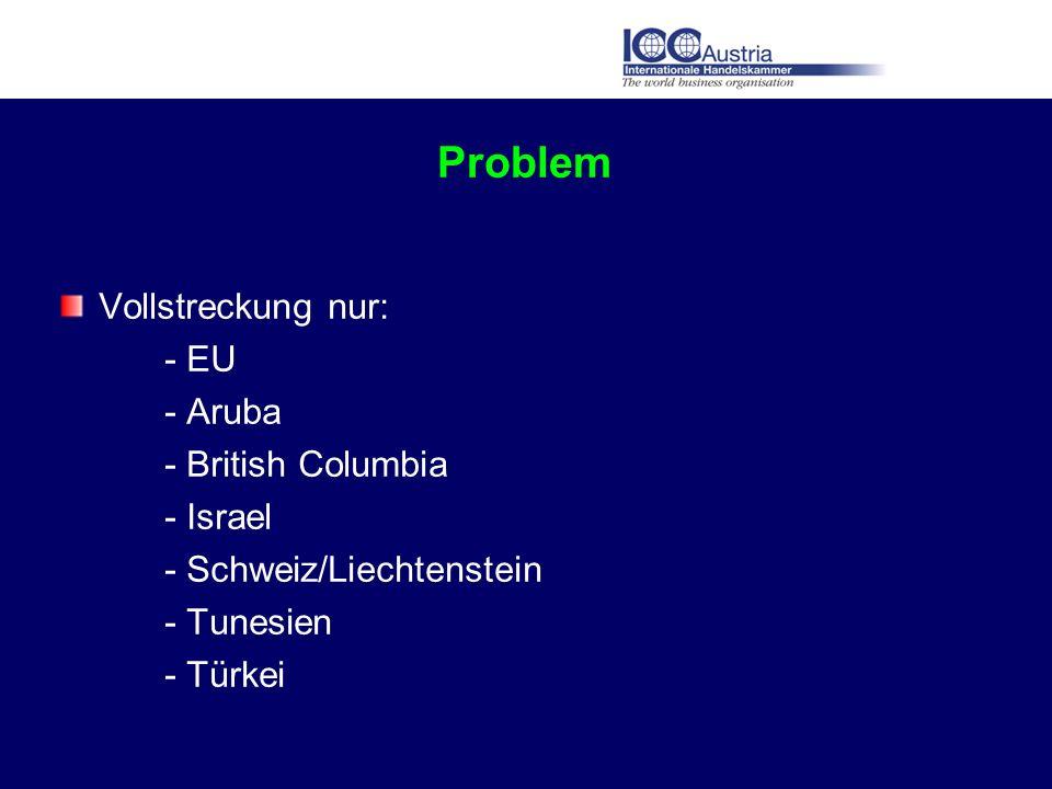 Problem Vollstreckung nur: - EU - Aruba - British Columbia - Israel - Schweiz/Liechtenstein - Tunesien - Türkei