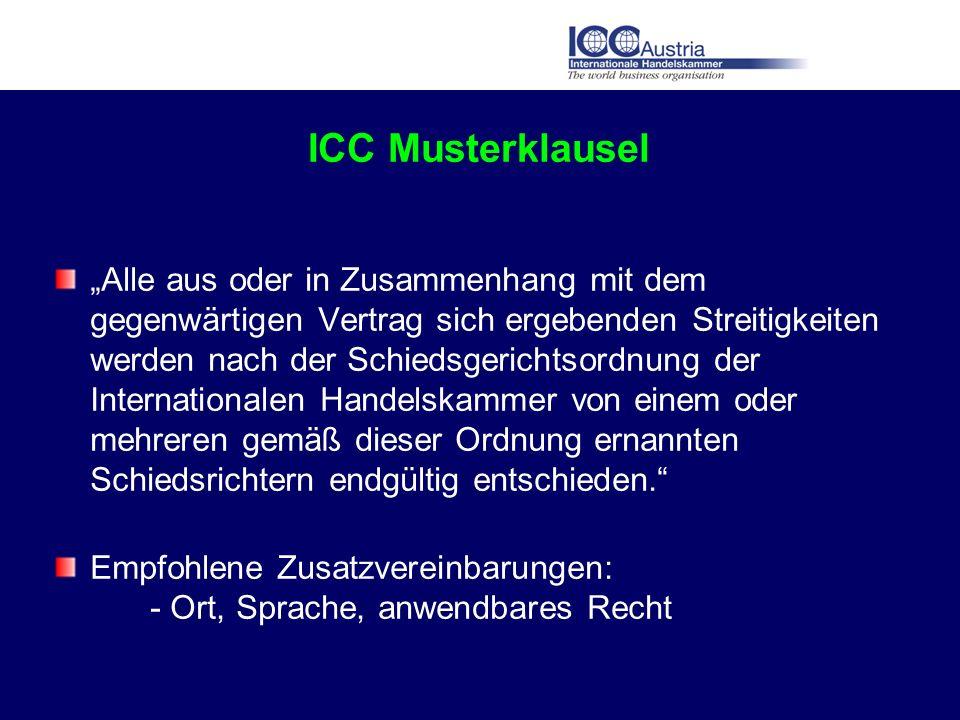 ICC Musterklausel Alle aus oder in Zusammenhang mit dem gegenwärtigen Vertrag sich ergebenden Streitigkeiten werden nach der Schiedsgerichtsordnung de