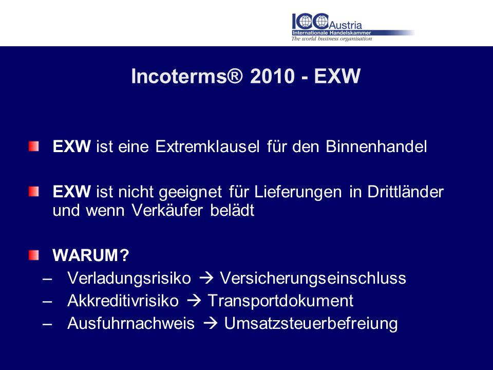 Incoterms® 2010 - EXW EXW ist eine Extremklausel für den Binnenhandel EXW ist nicht geeignet für Lieferungen in Drittländer und wenn Verkäufer belädt